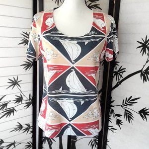 Vintage 80s/90s Geometric Sailboat Print Beach Tee